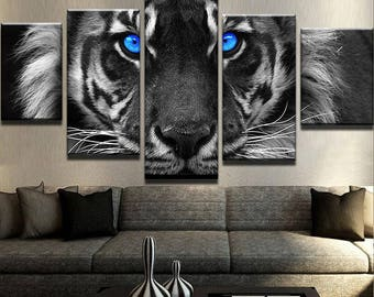 Blue Eyed Tiger Canvas Set Animal Canvas Set Animal Poster Animal Wall Decor Tiger Wall Print Tiger Wall Art Tiger Poster