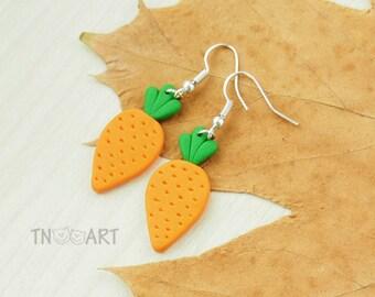 Carrot Earrings handmade polymer clay jewelry orange green color miniature funny earrings set