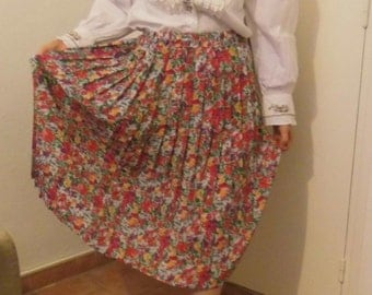 Accordion pleated skirt floral summer / S 60