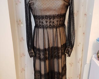 1970's Black Lace with a Blush Under Dress