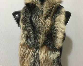 Real Beige Black Crystal Fox Fur Collar & Scarf