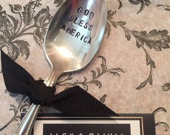 God Bless America - Vintage Silver Plated Spoon - Handstamped - Patriot - 4th of July - Troops