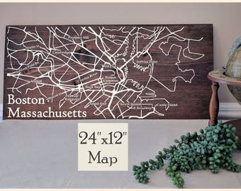 Boston Map, Large Wooden Map, Boston Map Wall Art, Boston City Map, Boston Map Art, Wooden Street Map, House Address Map by Novel Maps