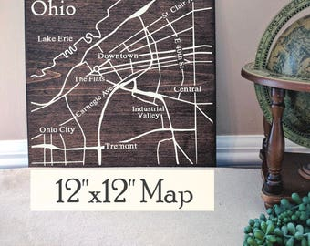 Cleveland Map, Large Wood Map, Cleveland City Map, Cleveland Wall Art, Cleveland Wood Map, Personalized Map, Custom City Map by Novel Maps
