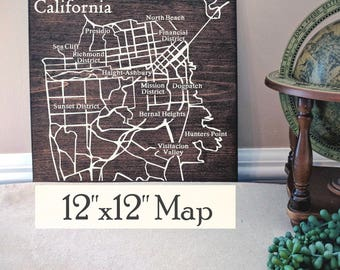 San Francisco Map, Large Wood Map, San Francisco Wall Art, San Francisco Wood Map, Gift, Personalized Map, Custom City Map by Novel Maps