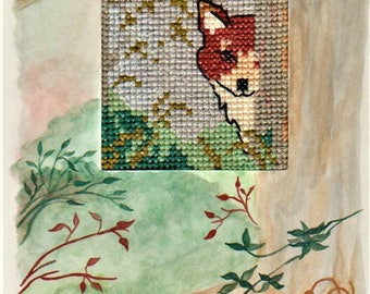 Handmade greeting card, hand-painted with watercolours and hand-embroidered with 100% cotton threads, Forest Lovers, hiding fox in forest