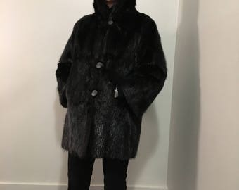 VINTAGE Hudson's Bay Company Blended Muskrat Fur Black Coat
