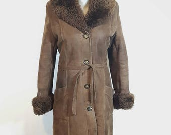 Vintage fur coat - Women's fur coat - Fur coat -  Hand made fur coat - Genuine leather coat - Sheep Skin Brown Jacket.