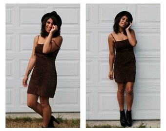 Vintage 90s Brown Suede Mini Dress