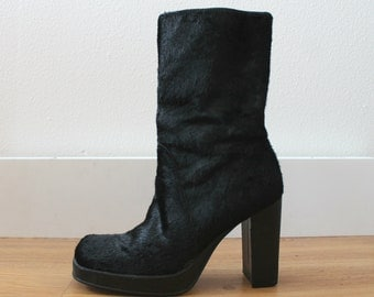Vintage 90s Black Pony Calf Hair Platform Boots | Square Toe | Size 6.5