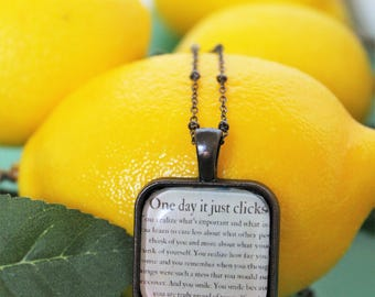 Square Glass Dome Necklace, Words of Wisdom, Encouragement, Inspiration