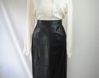 1980s Leather Pencil Skirt // Jack Gabay Pencil Skirt // Vintage Leather Pencil Skirt // Vintage Buttoned Skirt // Witchy Leather Skirt