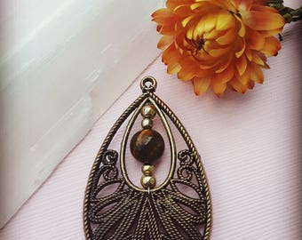 Tiger Eye in Bronze Necklace