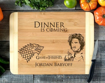 Personalized Cutting Board Engraved Chopping Board~Anniversary, Engagement, Housewarming, Wedding Gift, Christmas- Game of Thrones HDS