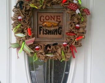 Gone Fishing Man Cave Wreath Door Hanger Burlap