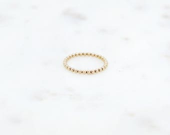 14K Yellow Gold Filled Bead Ring-yellow gold fill-bead ring-dainty ring