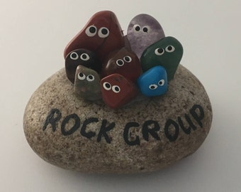 """Cute """"Rock Group"""" handpainted paperweight, ornament in lovely presentation box"""