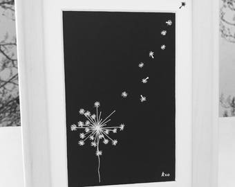 Original dandelion drawing - dandelion art with petals, black and white, white wood frame, can be personalised to gift!