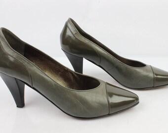 Vintage JB MARTIN Paris shoes leather khaki Taupe UK 5 / Fr 38 very good condition (3032)