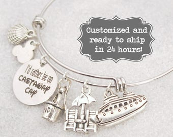 Castaway Cay - I'd Rather Be On Castaway Cay DISNEY Inspired, Disney Cruise, Fish Extender Custom Name Charm Bracelet, Adjustable Bangle