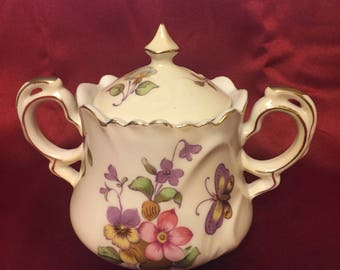 Vintage Lefton China Hand Painted Gold Trim Floral Design and Butterflies