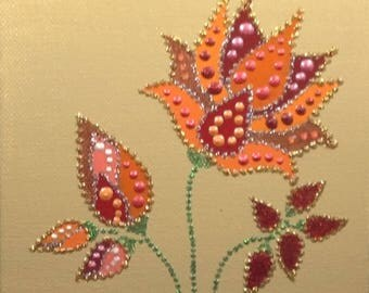"ORANGE / FLOWERS / Original Design / Handmade / Dot Art / Wall Art / Acrylic Painting / 6""x6"" Canvas Panel / Wooden Easel"