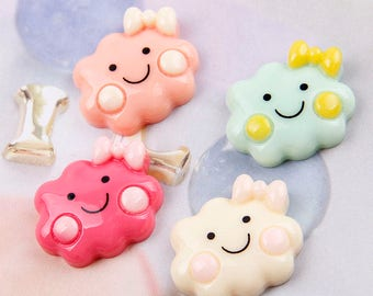 30pcs Kawaii Cabochons, Smiley Cloud Cabochons, Flat back cabochons, Cloud charms, cute charms cabochons, DIY resin cabochons