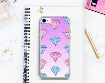 Diamonds iPhone case, iPhone 7 case, iPhone 7 plus case, Diamond iPhone 8 case, iPhone X case, iPhone 6 case, diamonds and stars phone case