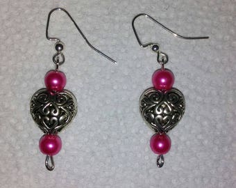 """Tibetan Silver """"Hollow"""" Heart Charm Earrings with Accent Beads"""
