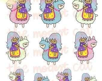 Llama and Bella - hand drawn kawaii customizable multicultural deco stickers