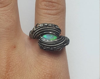 Size 9~ Opal ring~Oxidized Sterling silver