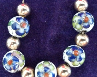 Add-a-Bead 14k gold Necklace with Cloisonne' beads / FREE SHIPPING