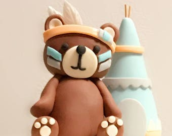 Fondant woodland tribal Cake Topper Set - Indian Native Bear with teepee cake baby shower Topper - 3D Animal figure fondant