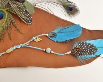 Boho Feather hair accessory, Hair extension,Purple and blue hair braid