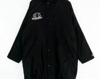 Rare!!Champion embroidered logo vintage hoodies long jacket/MINT!