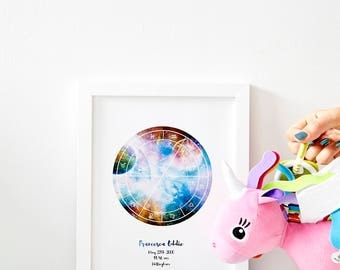 The Star Chart // Astrology Included // *Framed* Magic Sky Map // Custom Star Sign Sky Charts // Cosmic + Gold Choices