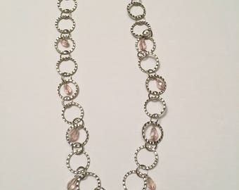 Hammered Circles with Light Pink Teardrops Necklace