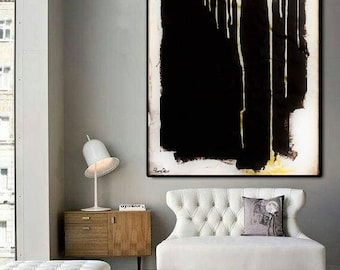 GOLD Rain Acrylic Painting Abstract Canvas Handmade Original Painting Multi Sizes Made To Order By Ron Deri.