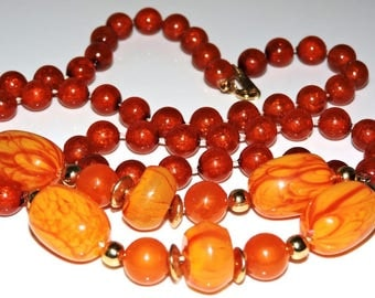 Gorgeous Vintage Art Deco CELLULOID Lucite Necklace TEQUILA SUNRISE Orange Red Yellow  Swirl Beads