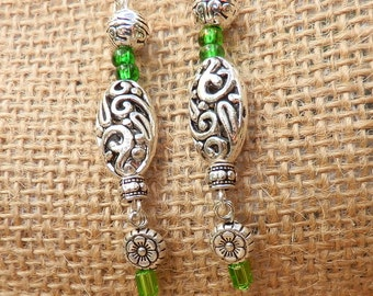 Green glass beaded earrings/Beaded Filigree earrings/long dangle earrings/Chandelier earrings/bohemian earrings/long  beaded earrings/