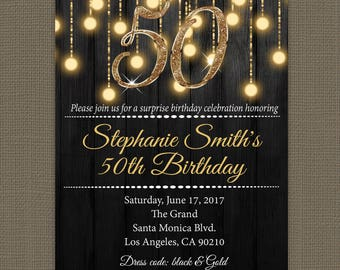 Gold 50th birthday invitations - 50th Birthday Invitation for Women - Milestone Birthday Invitation - Digital or Printed #PIBGL98