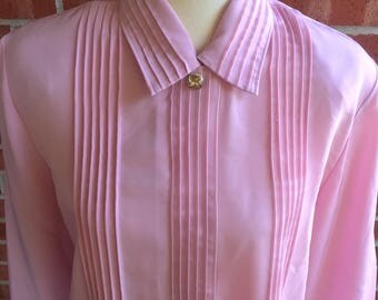 Vintage 80s Laura and Jayne pink blouse. Size 14