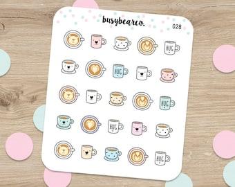Coffee Planner stickers, Coffee Stickers, Coffee Time Stickers, Latte, Decorative stickers, Planner Stickers, Erin Condren Stickers (028)