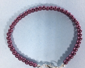 SALE 30% Purple Pearl Bracelet, Purple Pearl Gemstone Bracelet Crystal Bracelet , February Birthstone bracelet