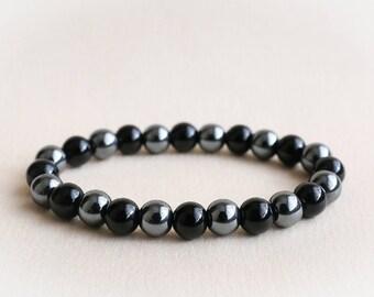 Hematite Bracelet Agate Bracelet Mens Beaded Bracelet Black Agate Bracelet Agate and Hematite Bracelet Mens Stretch Bracelet