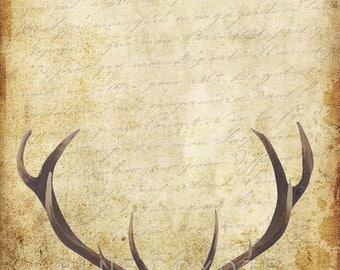 Deer Print, Watercolor Print, Deer with Antlers Decor Deer Poster Art Digital Download Printable File #bc85