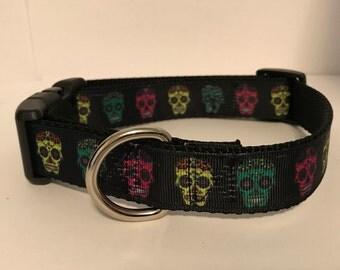 Sugar Skull Dog Collar Multi-Color