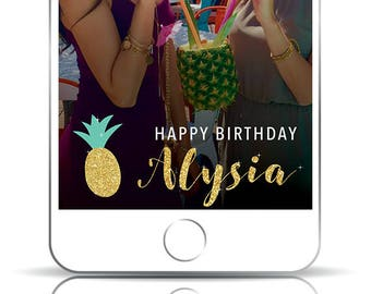 Pineapple Snapchat Filter, Pineapple Geofilter, Birthday Snapchat Filter, Pineapple Birthday, Gold Snapchat Filer, Gold Glitter, Geofilter