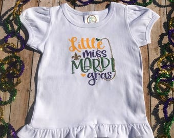 Little Miss Mardi Gras Shirt, Mardi Gras Shirt, Parade Shirt, Girls Mardi Gras Shirt