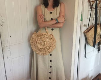 70s linen sundress with wood buttons